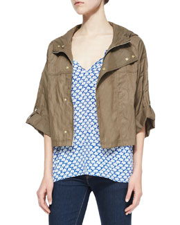 Marlin Cropped Nylon Jacket & Masha Elephant-Print Tassel Blouse