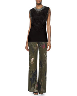 Beaded Fringe-Trim Neckpiece & Bird-Print Wide-Leg Pants