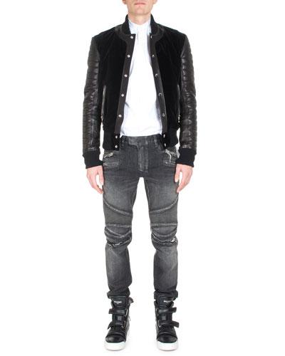 Short Varsity Jacket, Banded-Collar Pleated-Front Tuxedo Shirt & Distressed Slim-Leg Moto Denim