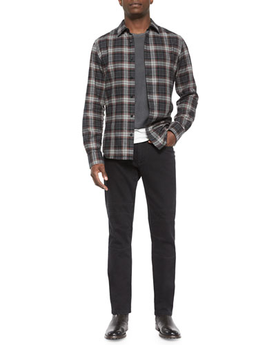 Woodham Long-Sleeve Flannel Shirt, Hallet Jersey Graphic Short-Sleeve Tee & Harpton Raw-Stretch Moto Jeans