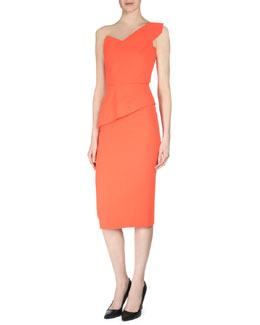 Keiko One-Shoulder Wool Crepe Top & Double-Faced Midi Pencil Skirt