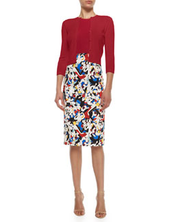 Cashmere-Silk Button Cardigan, Cashmere-Silk Sleeveless Sweater & High-Waisted Printed Pencil Skirt