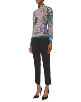 Painted Floral-Print Cashmere-Blend Top & Skinny-Fit Cropped Pants