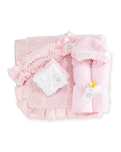 Ziggy Hooded Towel  Receiving Blanket  Security Blanket & Burp Cloth  Pink