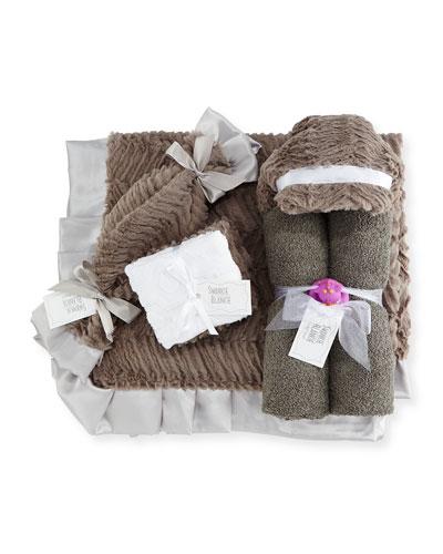 Ziggy Hooded Towel  Receiving Blanket  Security Blanket & Burp Cloth Set  Slate