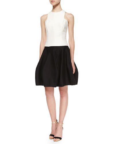 Sleeveless Jewel-Neck Tank & Short Structured Party Skirt