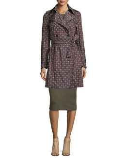 Nelima Printed Nylon Trenchcoat & Koldeen Preen Sleeveless Sheath Dress