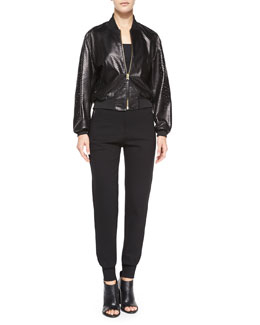 Perforated Lambskin Leather Cropped Jacket & High-Waist Tailored Sweatpants