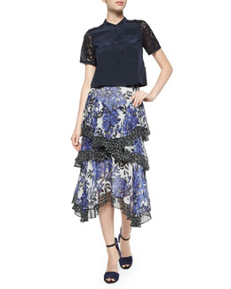 Short-Sleeve Silk/Lace Crop Top & Combo-Print Tiered Skirt