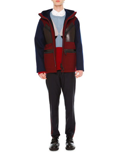 Two-Tone Hooded Wool Coat, Geo Colorblock Cashmere Crewneck Sweater, Solid Long-Sleeve Shirt & Slim-Leg Trousers w/Contrast Stripe