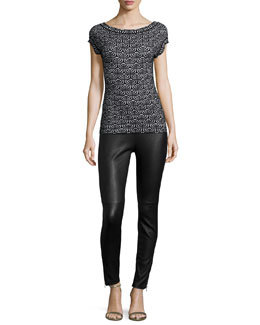 Geometric Jacquard Cap-Sleeve Top & Lambskin Leather Leggings