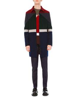 Colorblock Long-Sleeve Coat, Geo Colorblock Crewneck Sweater & Slim-Fit Trousers