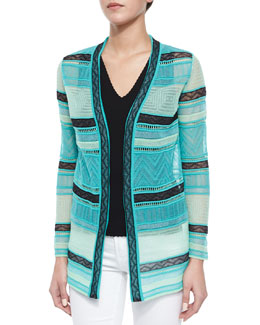 Fancy Ribbon-Stitch Cardigan & Double-V Scalloped Tank