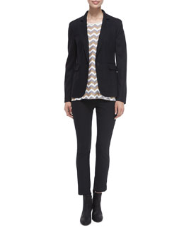 Long-Sleeve Wool Club Jacket, Aster Chevron-Print Silk Tank & Simone Stretch Ankle Pants