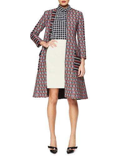 Checked Tweed Long Coat, Stand-Collar Grid-Print Blouse & Double-Faced Cashmere-Blend A-line Skirt