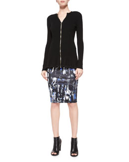 Ribbed Zip-Front Peplum Jacket & Richter-Print Contour Skirt