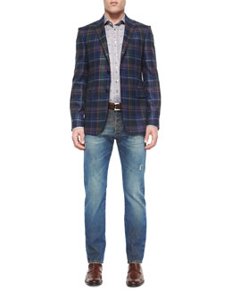 Multi-Plaid Two-Button Blazer, Plaid Sport Shirt with Small Paisley-Print & Five-Pocket Faded & Distressed Denim Jeans