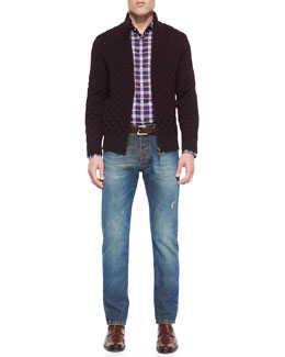 Wool Cable-Knit Full-Zip Cardigan, Plaid Long-Sleeve Sport Shirt & Five-Pocket Faded/Distressed Denim Jeans