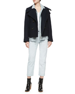 Trompe l'Oeil Denim Double-Breasted Wool Jacket & Ceramic Washed Saddle Ankle Jeans