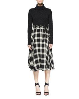 Jeannie Turtleneck Sweater & Gabriele Plaid Belted Skirt