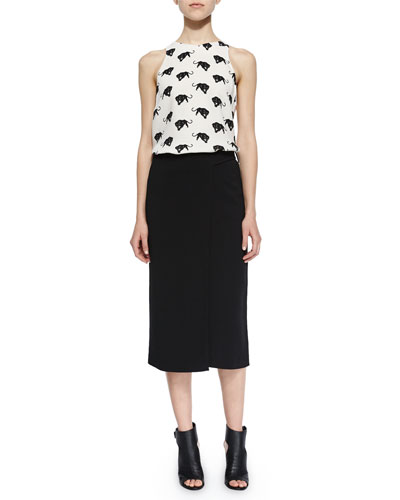 Anise Panther-Print Silk Top & Daniels Crossover Crepe Skirt