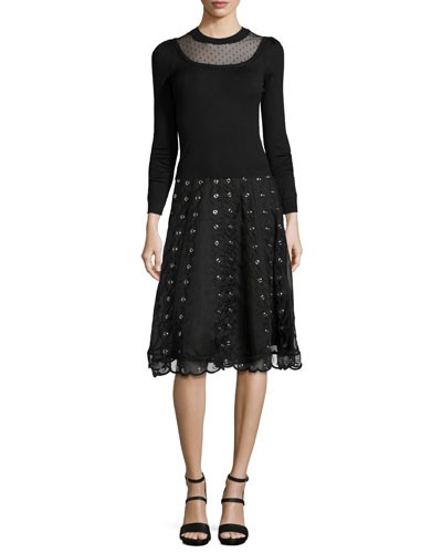 Long-Sleeve Sweater W/ Swiss Dot Detail & Organza Skirt with Grommets