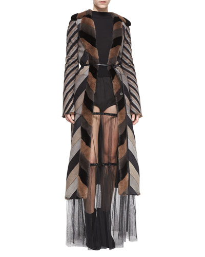 Chevron-Striped Reversible Mink Fur Coat, Backward Crewneck Cashmere-Blend Sweater, Crystal-Detailed Sheer Tiered Skirt &  Striped Woven High-Waisted Boyshorts