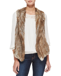 Andoni Rabbit Fur Vest, Kulani Lace-Inset Top & Mylon Suede Skirt