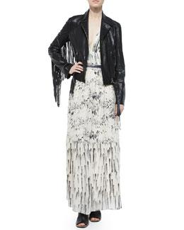 Leather Belted Moto Jacket W/ Fringe & Printed Deep-V Maxi Dress