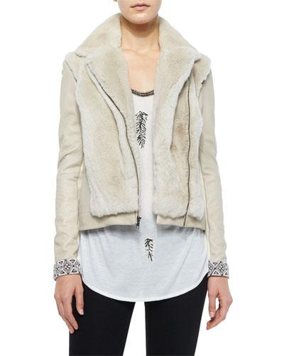 Long-Sleeve Fur Jacket w/Embellished Cuffs & Feather-Embellished Dagger Tee