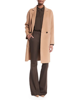 Cerlita Double-Face Wool/Cashmere Coat, Lanali Modern Long-Sleeve Top & Jotsna Cavalry Twill Flare Pants