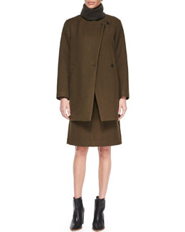 Venizka Camden Coat, Lanola Ribbed Turtleneck Sweater & Midi Camden Twill Skirt