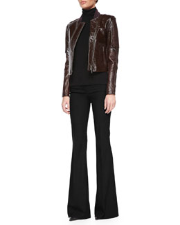 Shezi Polished Leather Jacket, Leenda Turtleneck Sweater & Jotsna Cavalry Flare Pants