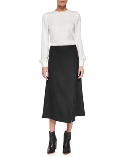Eri Long-Sleeve Blouse & Anneal Stretch-Wool Wrap Skirt