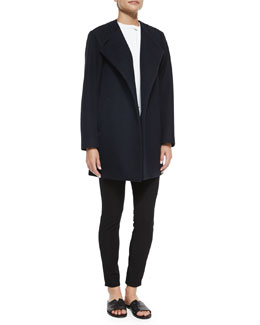 Venizka Camden Asymmetric Wool-Blend Twill Coat, Talniza Sleeveless Crepe Top & Adbelle Pull-On Stretch Leggings