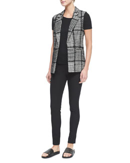 Eldora Houndstooth-Patterned Vest & Adbelle Pull-On Stretch Leggings