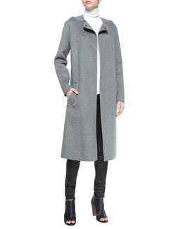 Wool-Blend Belted Car Coat, Laser-Cut Sleeveless Turtleneck Top & Five-Pocket Leather Jeans