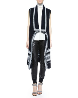 Textured Drape-Front Vest, Laser-Cut Sleeveless Turtleneck Top & Leather Belted Jogger Pants
