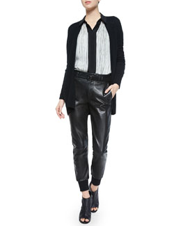 Cashmere Pointelle-Trim Cardigan, Wavy Stripe-Printed Blouse & Leather Belted Jogger Pants