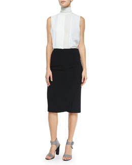 Laser-Cut Sleeveless Turtleneck Top & Bonded Pencil Skirt