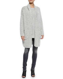 Oversized Long-Sleeve Car Coat, Waterfall Ribbed Long-Sleeve Sweater & Riley Skinny Denim Jeans