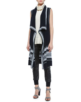 Textured Drape-Front Vest, Ribbed Sleeveless Turtleneck Sweater & Leather Belted Jogger Pants