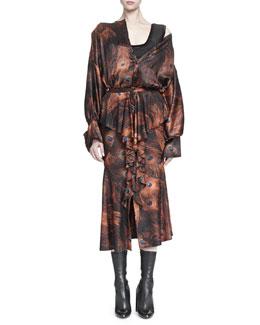 Vintage Peacock-Print Poet-Sleeve Blouse & Vintage Peacock-Print Cascading Ruffle Skirt