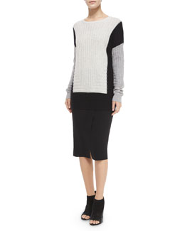 Colorblock Crewneck Sweater & Bonded Laser-Cut Pencil Skirt