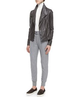 Mock-Neck Leather Jacket & Knit-Cuff Belted Jogger Suit Pants