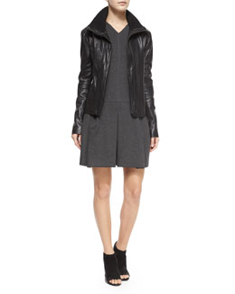 Funnel-Neck Leather Jacket & Pleated V-Neck Knit Dress
