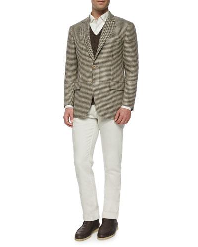 Madrid Check Cashmere Sport Coat, Baby Cashmere Cable-Knit Vest & Four-Pocket Cotton-Stretch Jeans