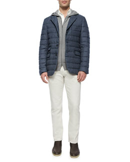 Quilted Cashmere Blazer, Hooded Full-Zip Bomber Sweater, Huck Lace Long-Sleeve Polo & Five-Pocket Stretch Denim Jeans