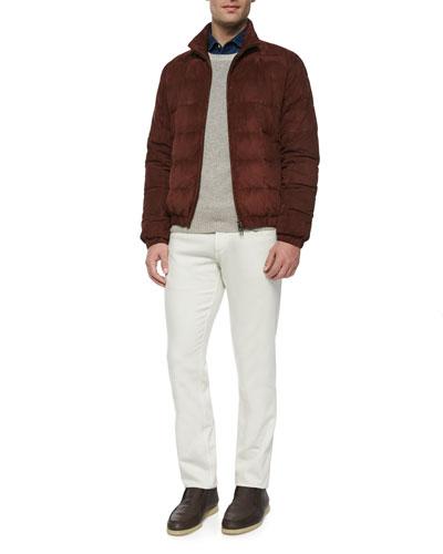 Lightweight Quilted Bomber Jacket, Baby Cashmere Crewneck Sweater, Alain Denim Long-Sleeve Sport Shirt & Five-Pocket Stretch Denim Jeans
