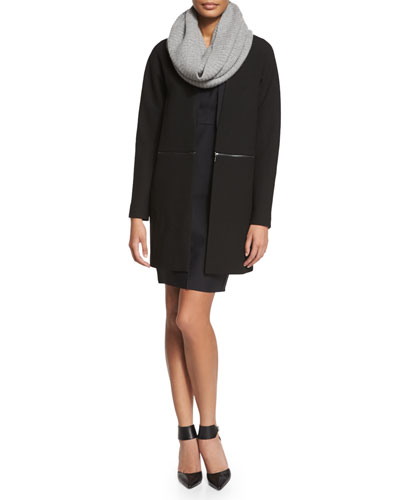 Adiano Long Coat W/ Zip-Off Hem, Vernon Sleeveless Dress & Petunia Cashmere Infinity Scarf